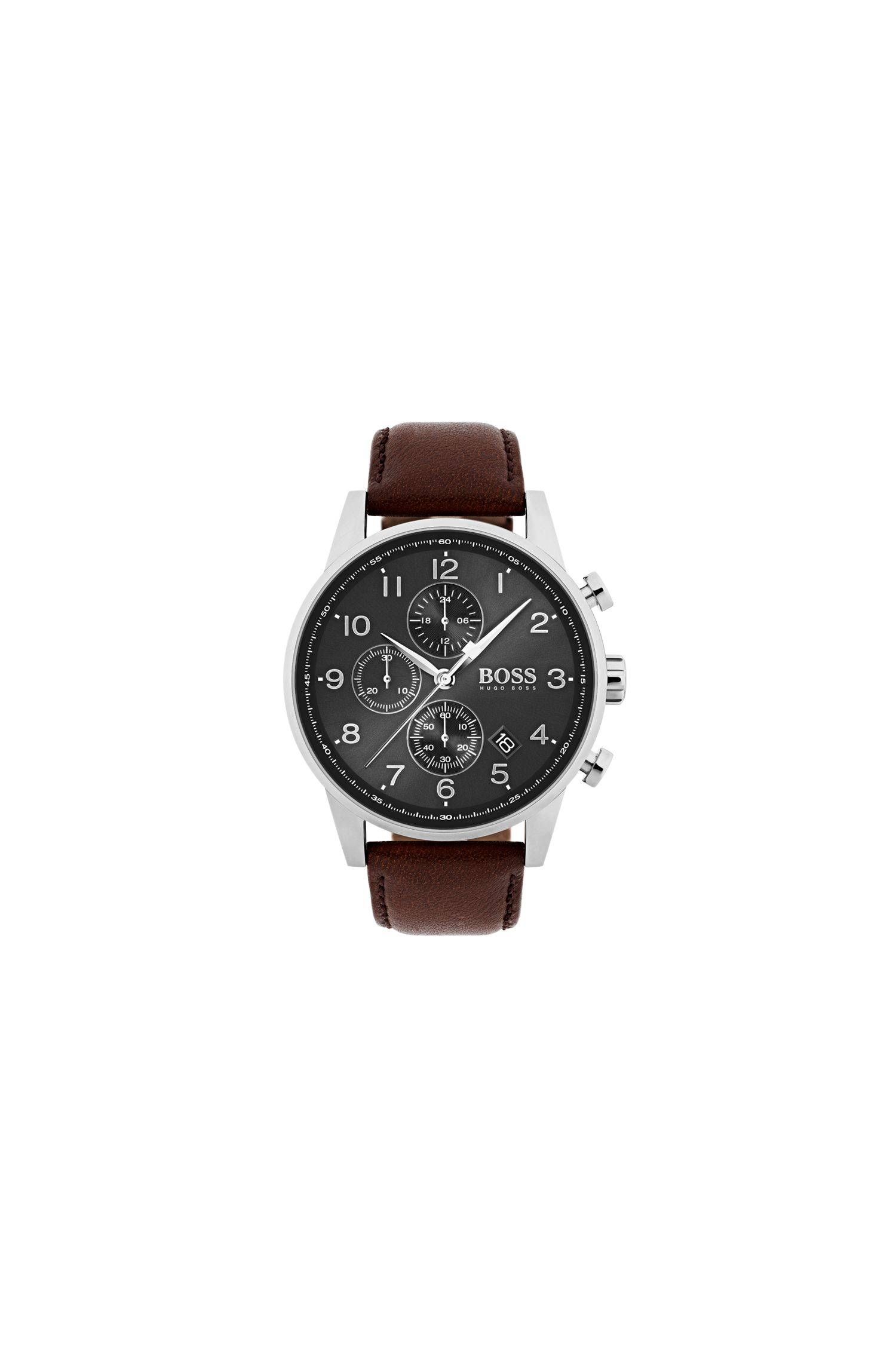 Polished stainless-steel chronograph watch with brown leather strap