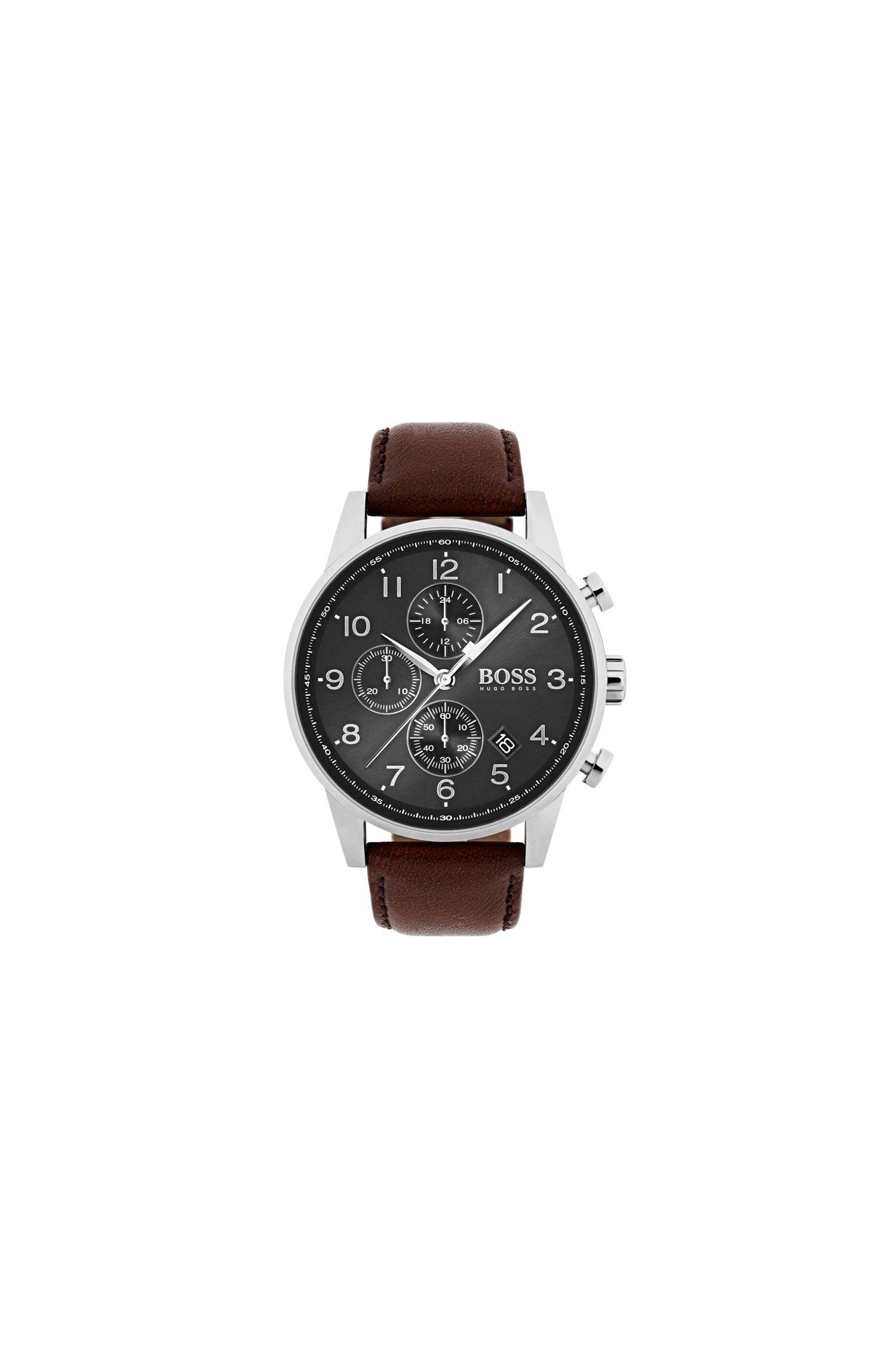 Reloj cronógrafo de acero inoxidable pulido con correa de piel marrón