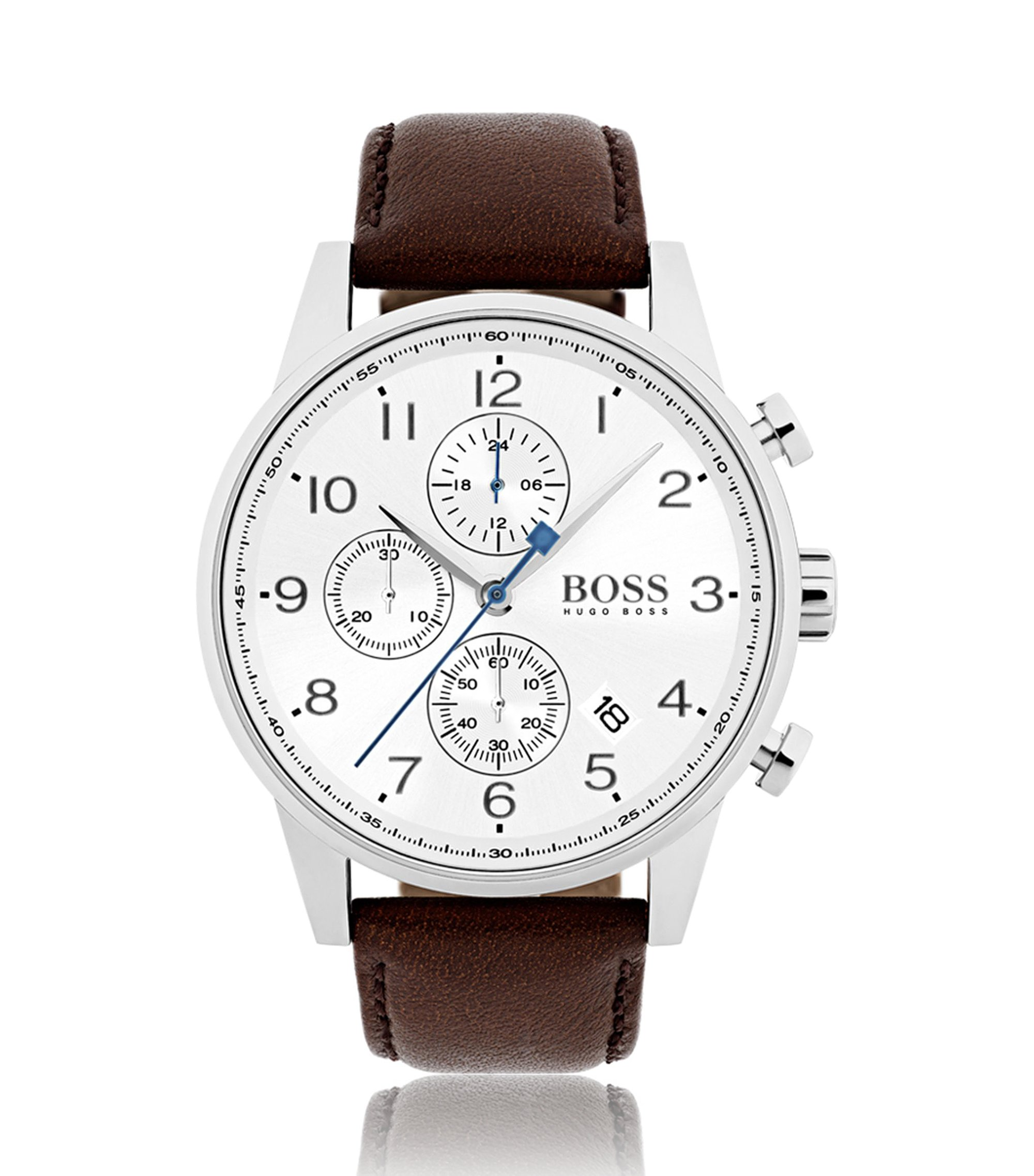 Polished stainless-steel watch with silver-white dial and leather strap, Dark Brown