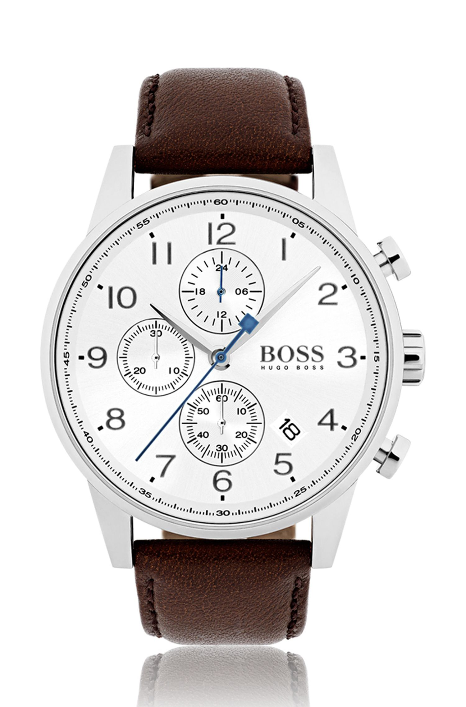 Polished stainless-steel watch with silver-white dial and leather strap