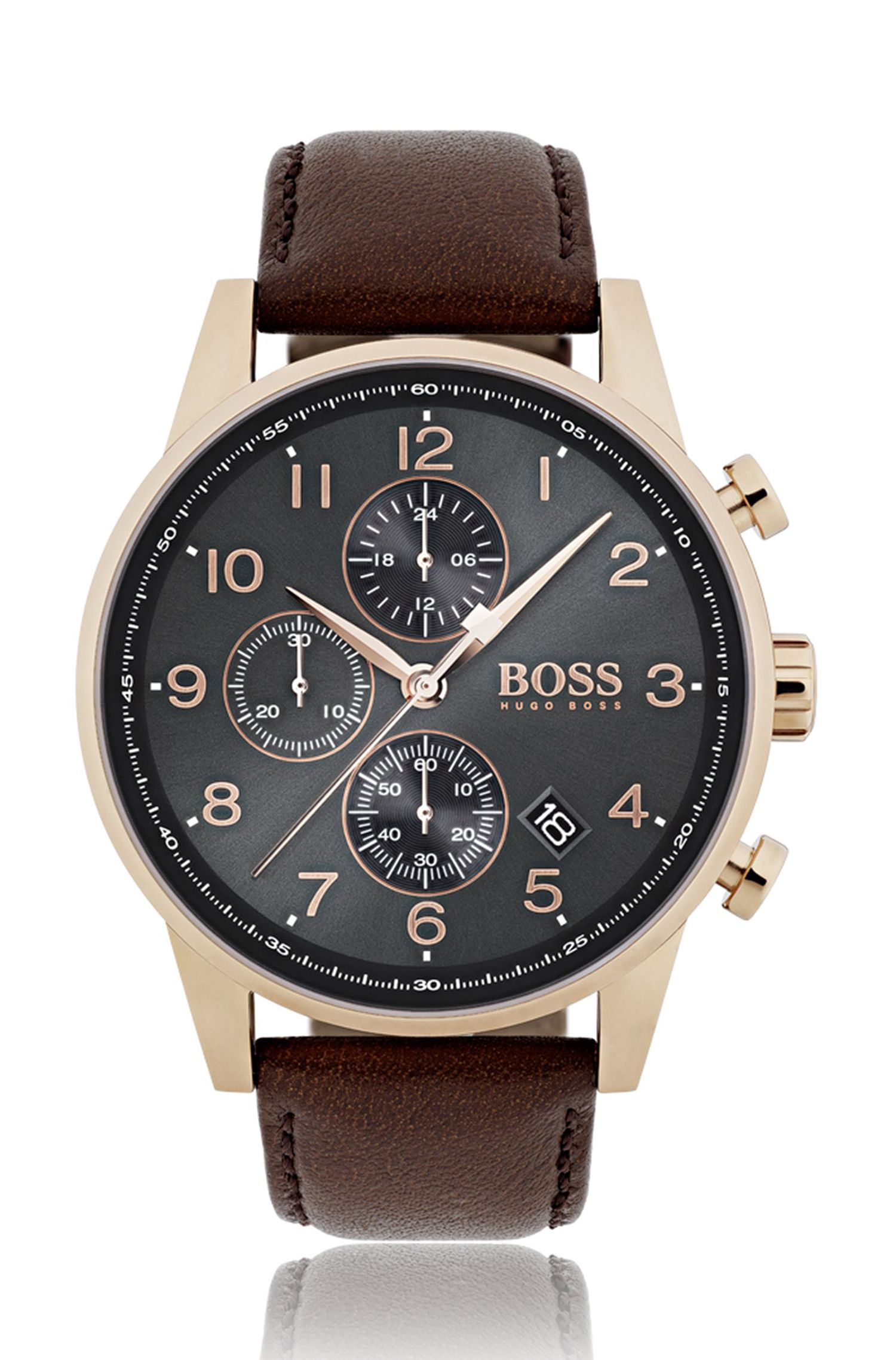 Rose-gold-plated watch with grey sunray-brushed dial, Dark Brown