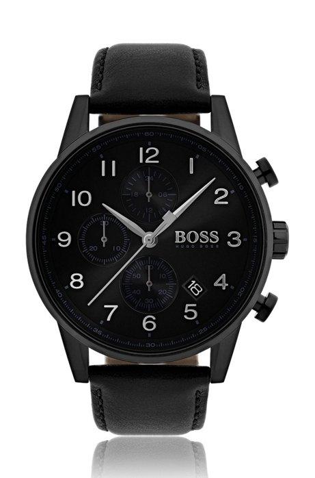 Horloge met drie wijzers, geborstelde sunray-wijzerplaat en polsband van leer, Zwart
