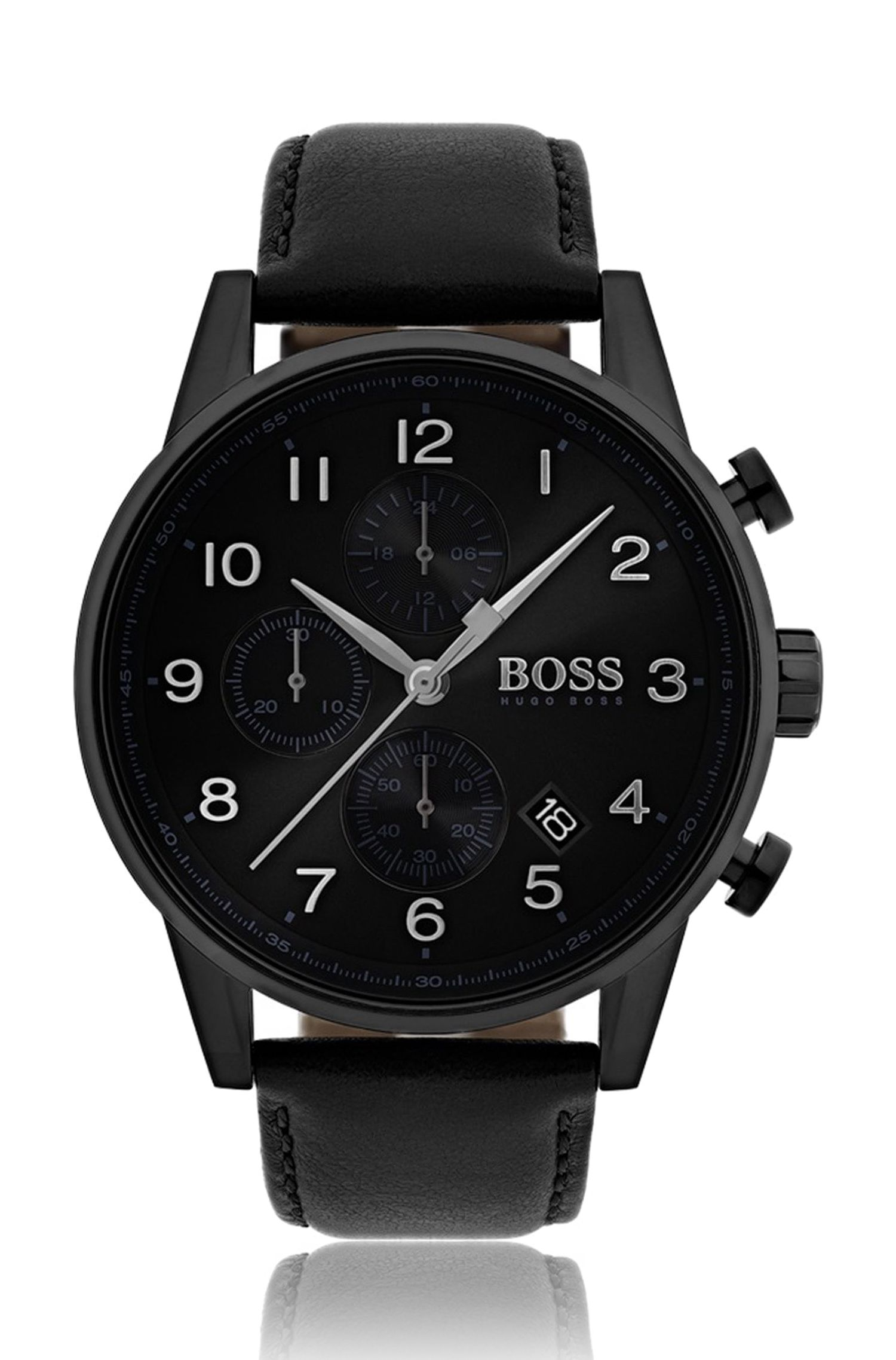 Three-hand watch with sunray brushed dial and leather strap, Black