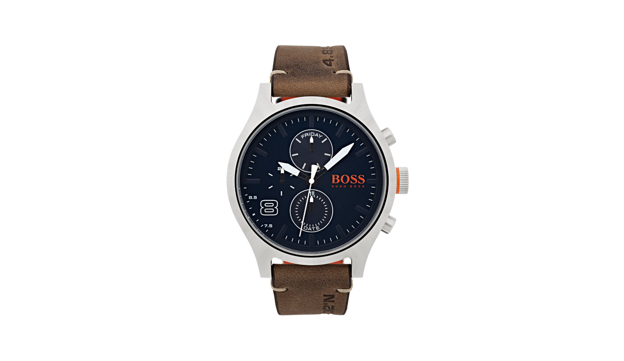 Stainless-steel watch with blue dial and brown leather strap, Assorted-Pre-Pack