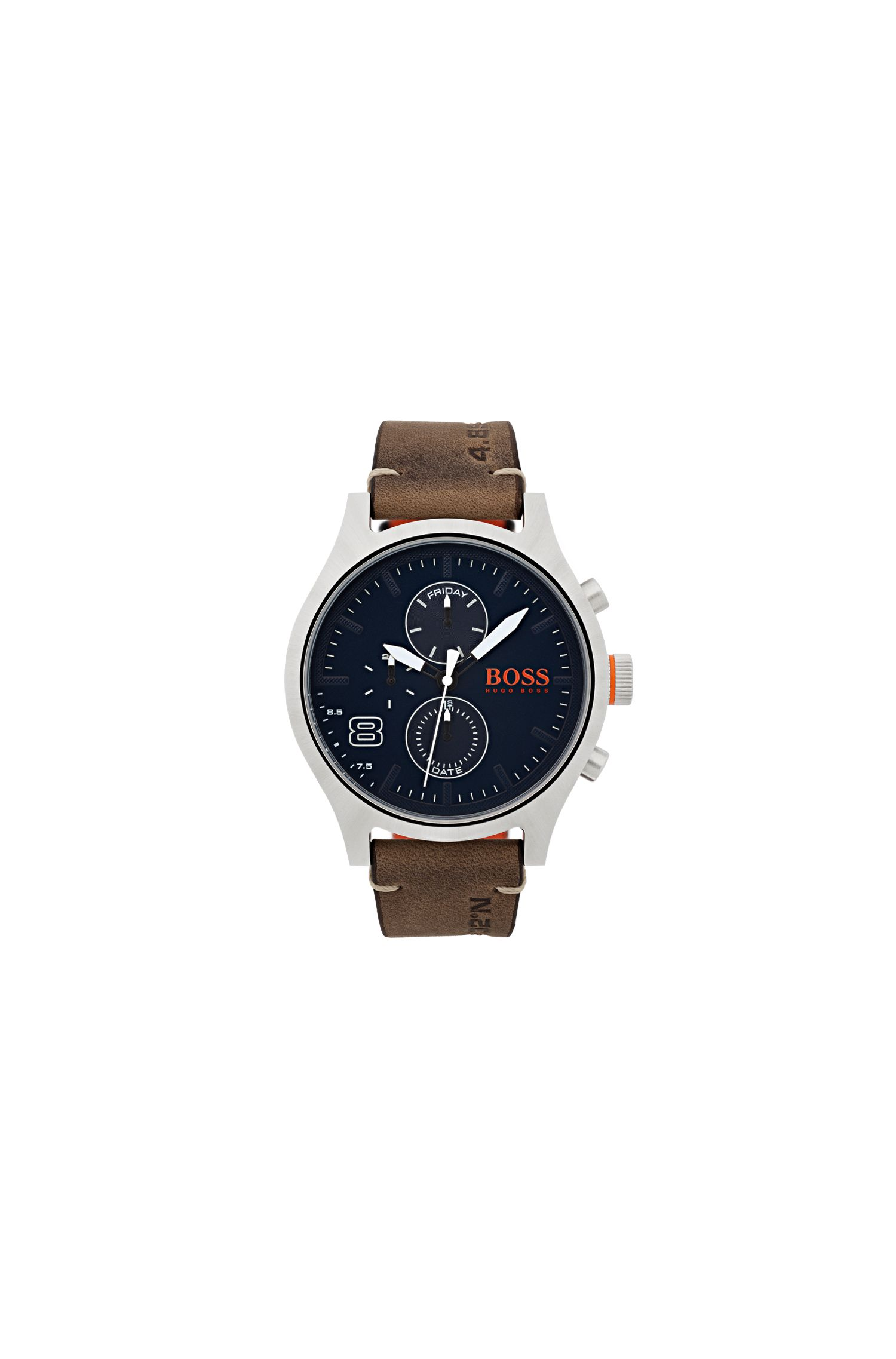 Stainless-steel watch with blue dial and brown leather strap