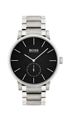 Horloge en polsband van roestvrij staal met zwarte wijzerplaat, Assorted-Pre-Pack