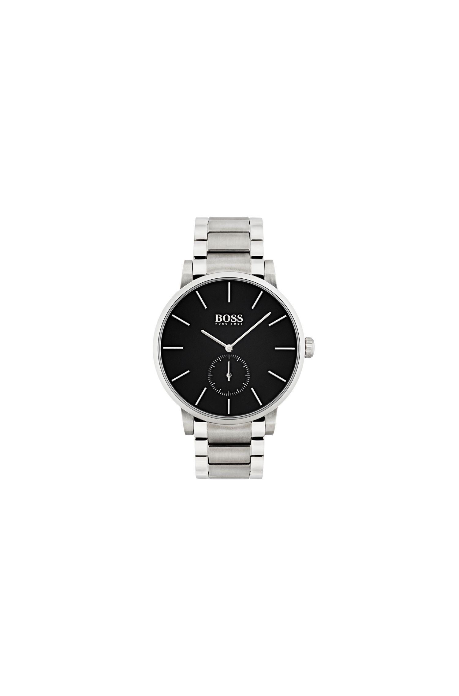 Stainless-steel watch and bracelet with black dial