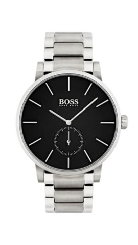 Stainless-steel watch and bracelet with black dial, Assorted-Pre-Pack