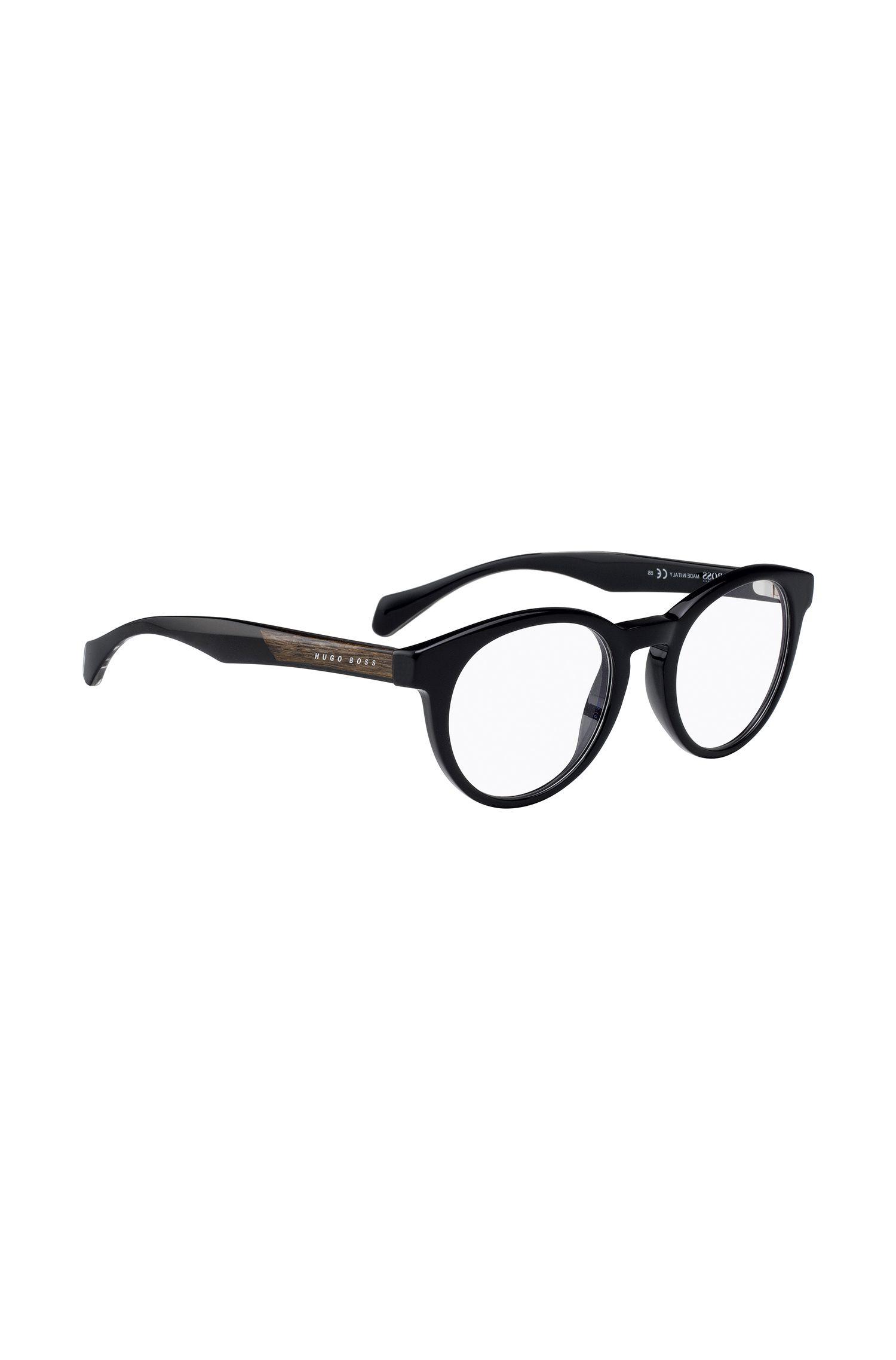 Runde Brille aus Acetat mit Holzeinsatz