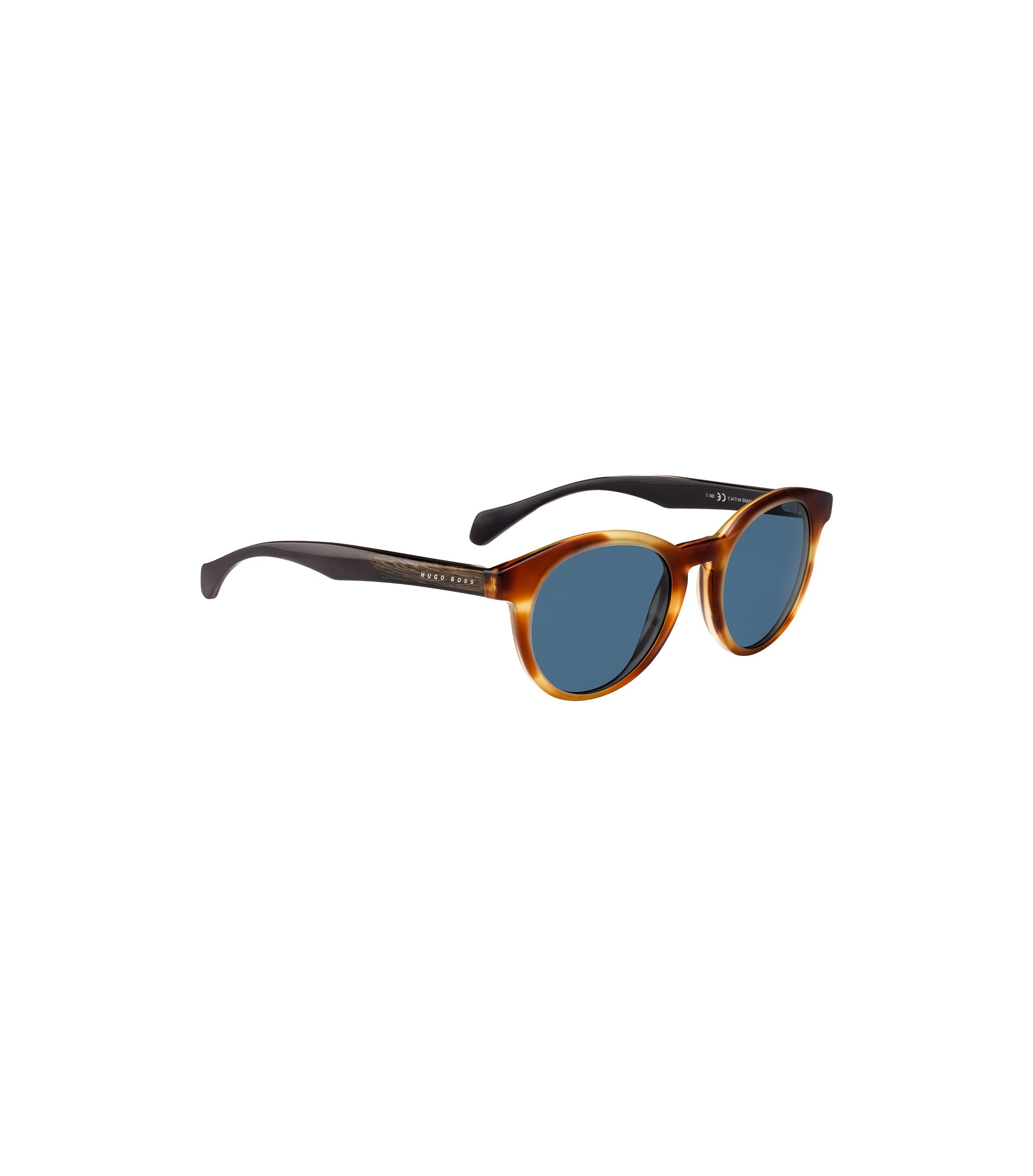 Round-framed sunglasses with wood trim, Assorted-Pre-Pack