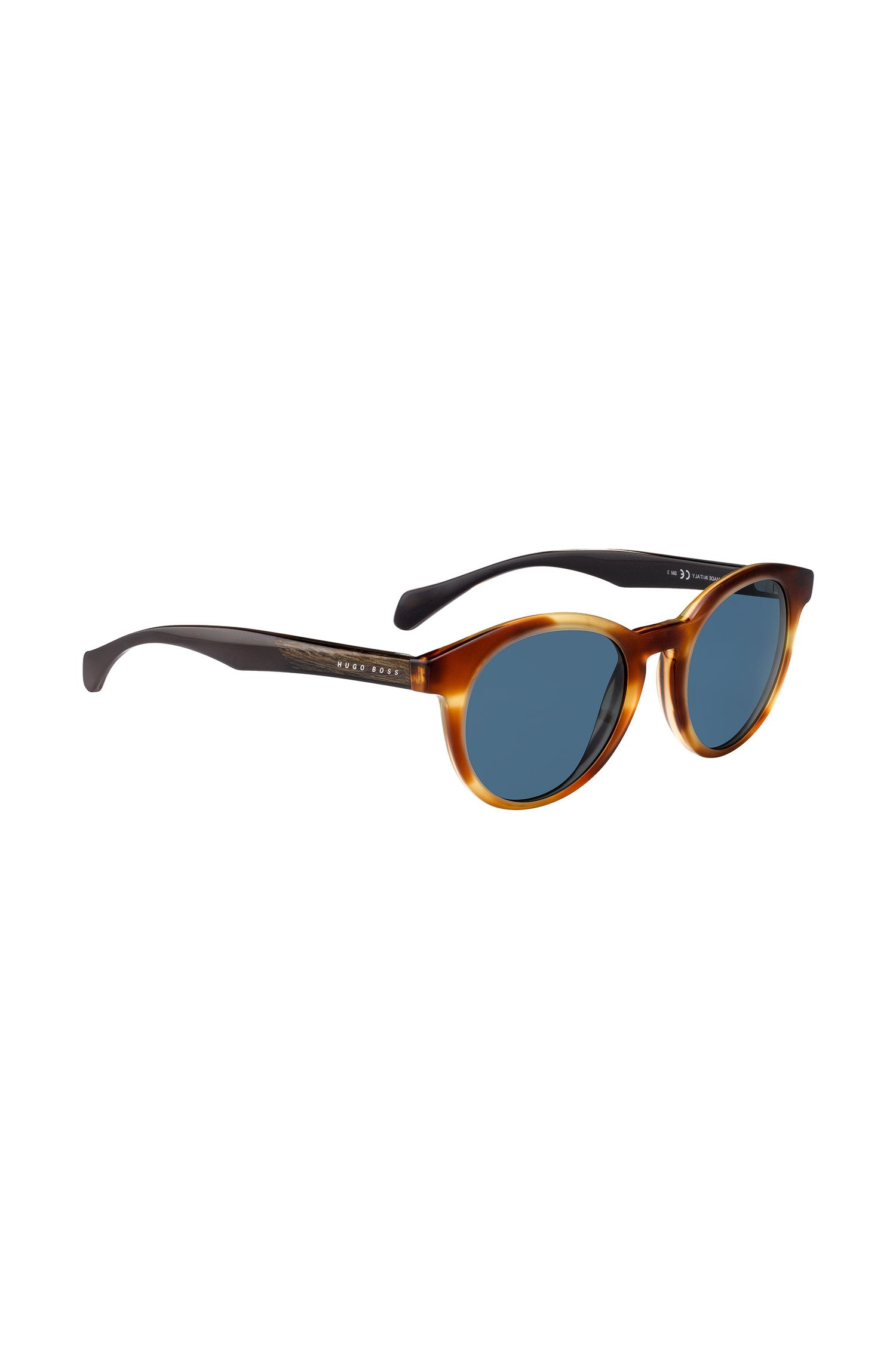 Round-framed sunglasses with wood trim