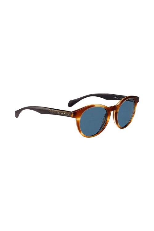 Hugo Boss - Gafas de sol de montura redonda con aplique de madera - 1