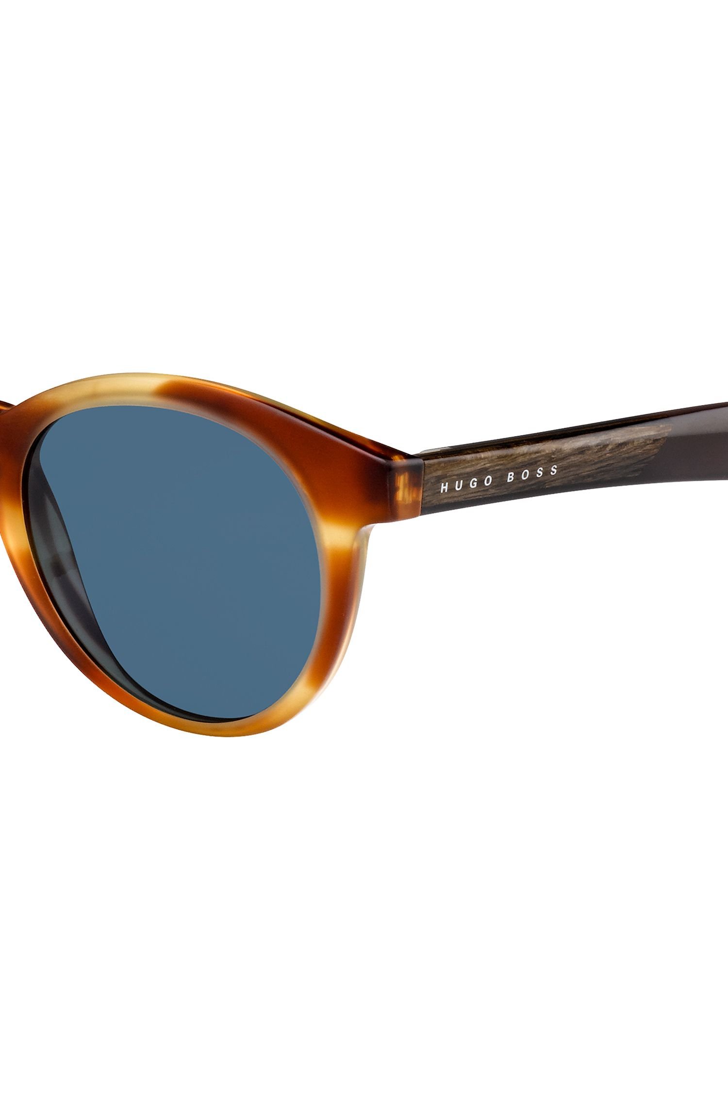 Round-framed sunglasses with wood trim, Patterned