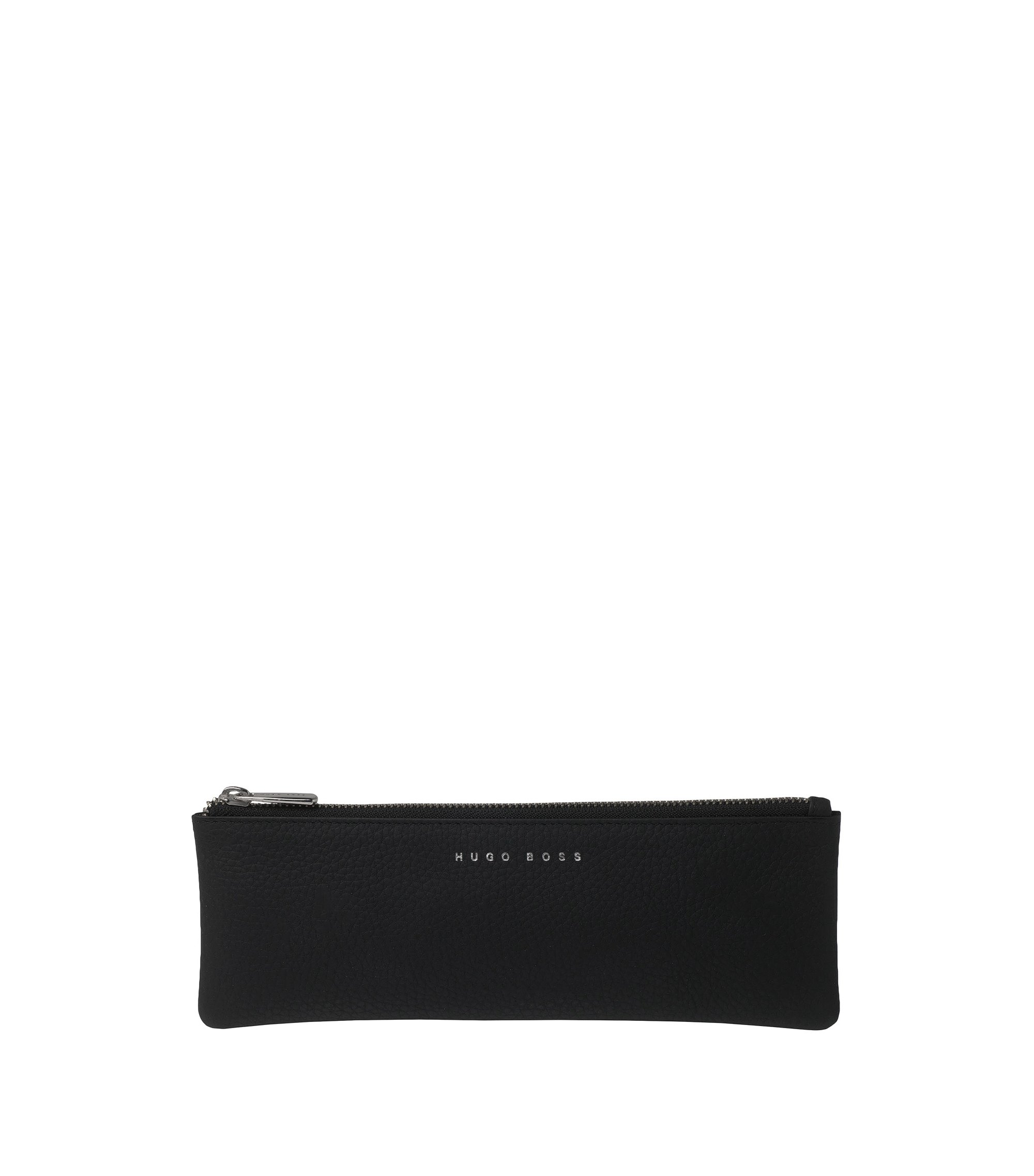 Black leather pen pouch with zip top , Black