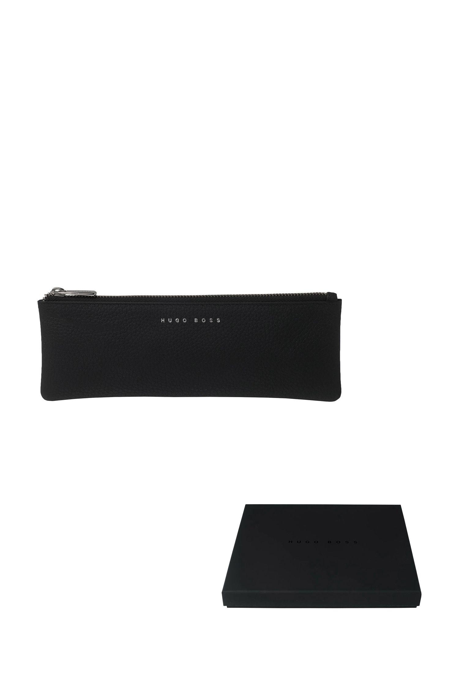 Trousse en cuir noir avec partie supérieure zippée