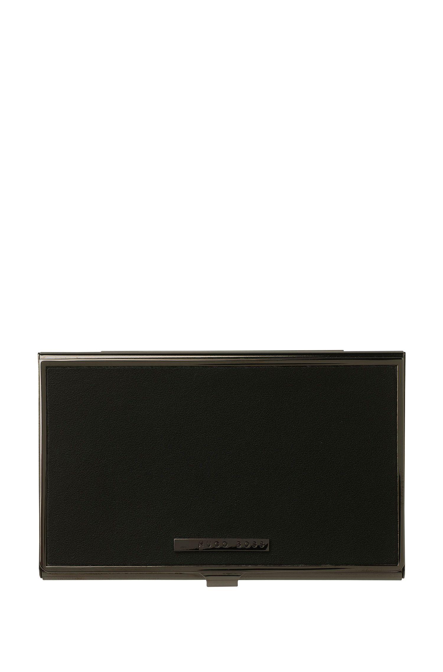 Black leather and steel card holder, Black
