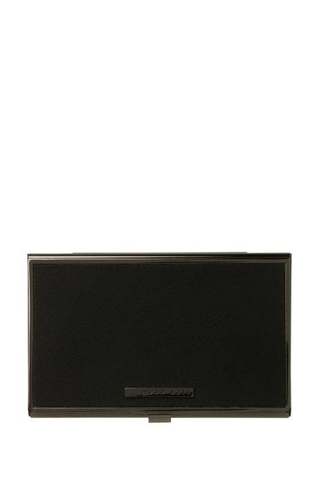 Black leather and steel card holder, Black