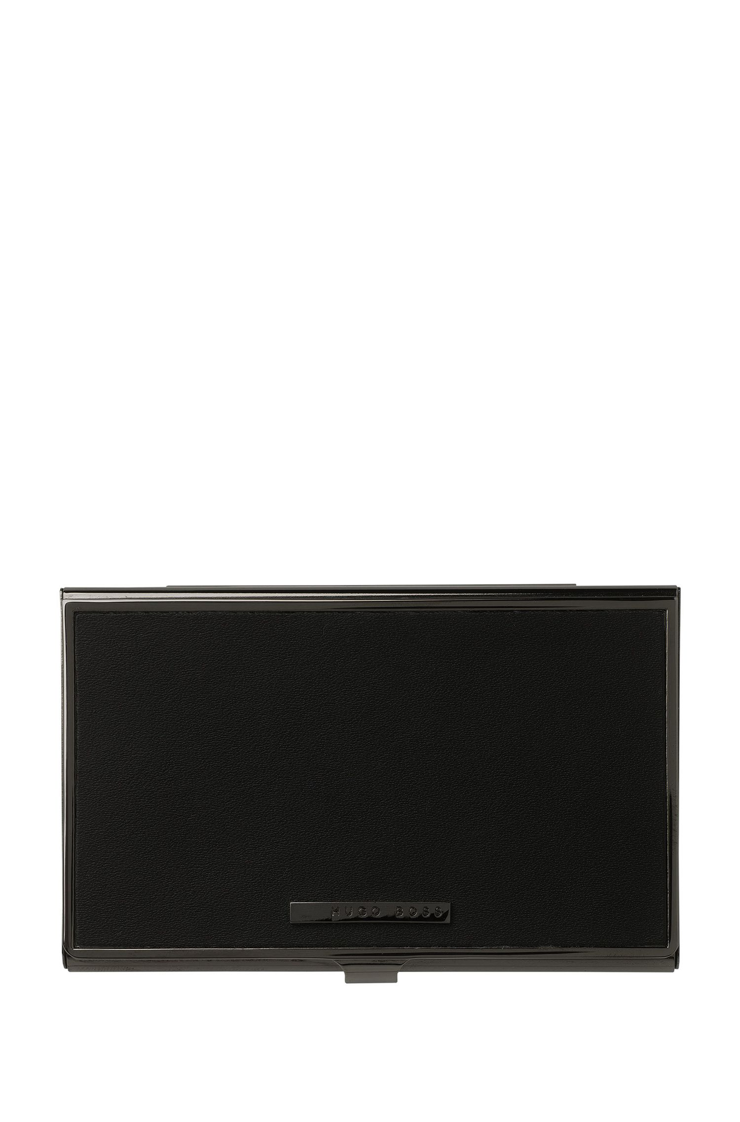 Black leather and steel card holder