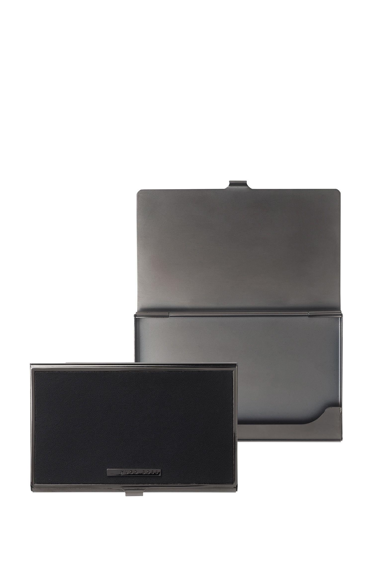 Portacarte in pelle nera e acciaio