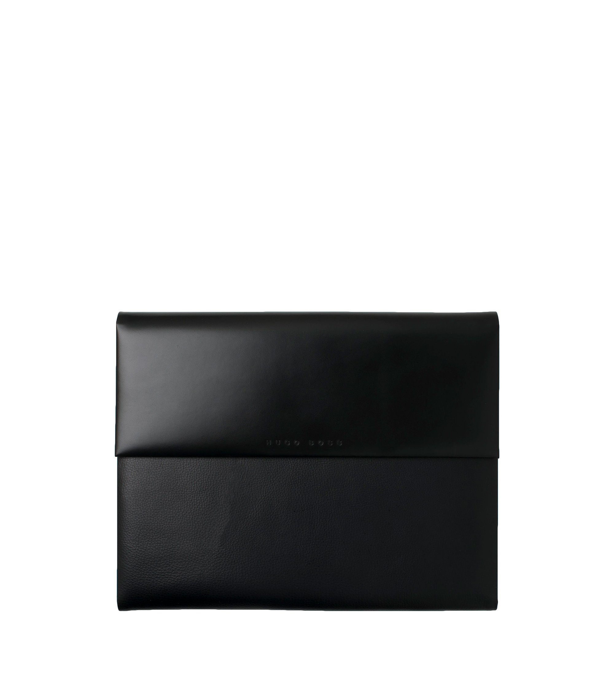 A4 conference folder in smooth and grained black leather, Black