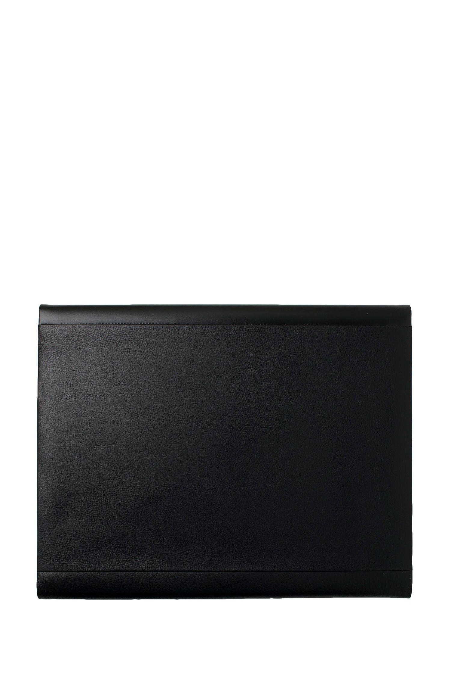 Schwarze DIN-A4-Mappe aus glattem und genarbtem Leder, Schwarz