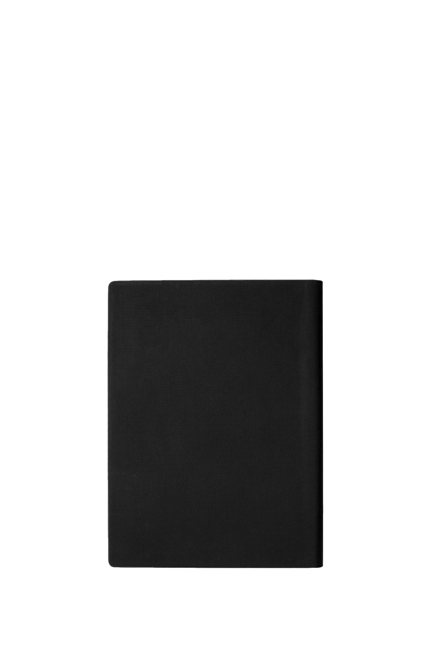 Étui texturé noir au formatA4 avec logo or rose, Noir