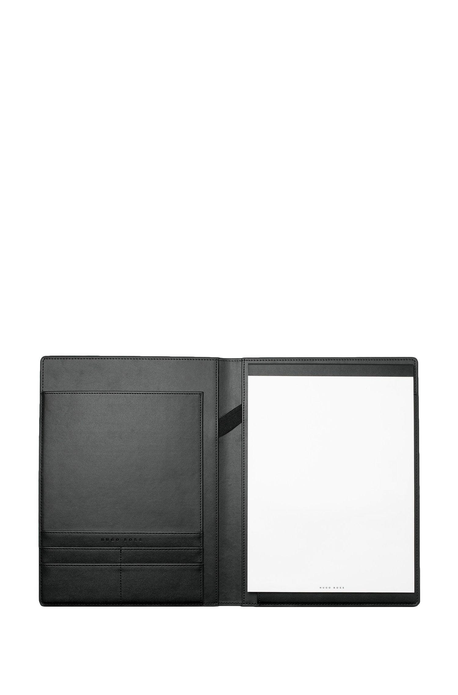Carpeta A4 negra con textura y logo en oro rosado