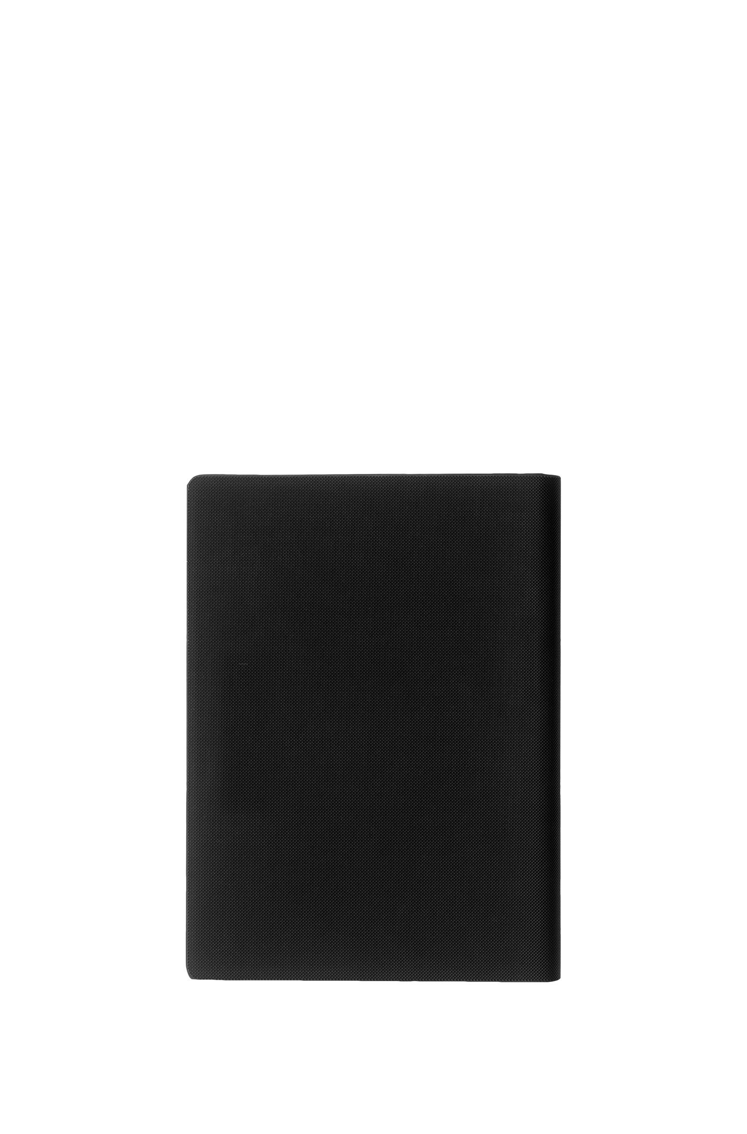 A5 textured folder with notepad and rose-gold logo, Black
