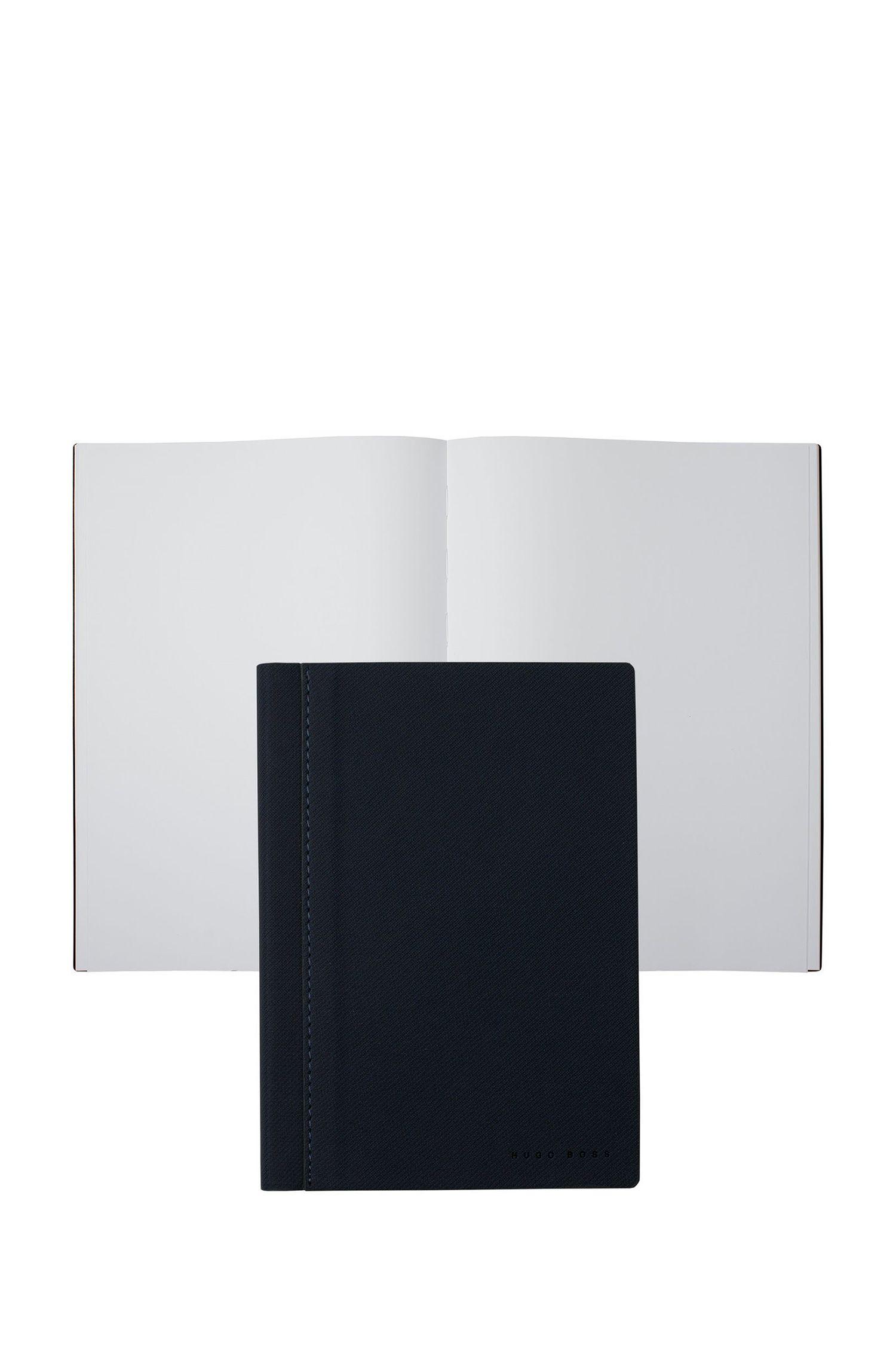 Cadeauset van blauw materiaal met A6-notitieblok en balpen, Donkergrijs
