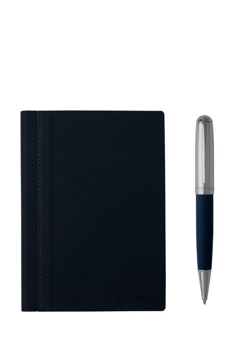 A6 notebook and ballpoint pen gift set in blue fabric, Dark Grey
