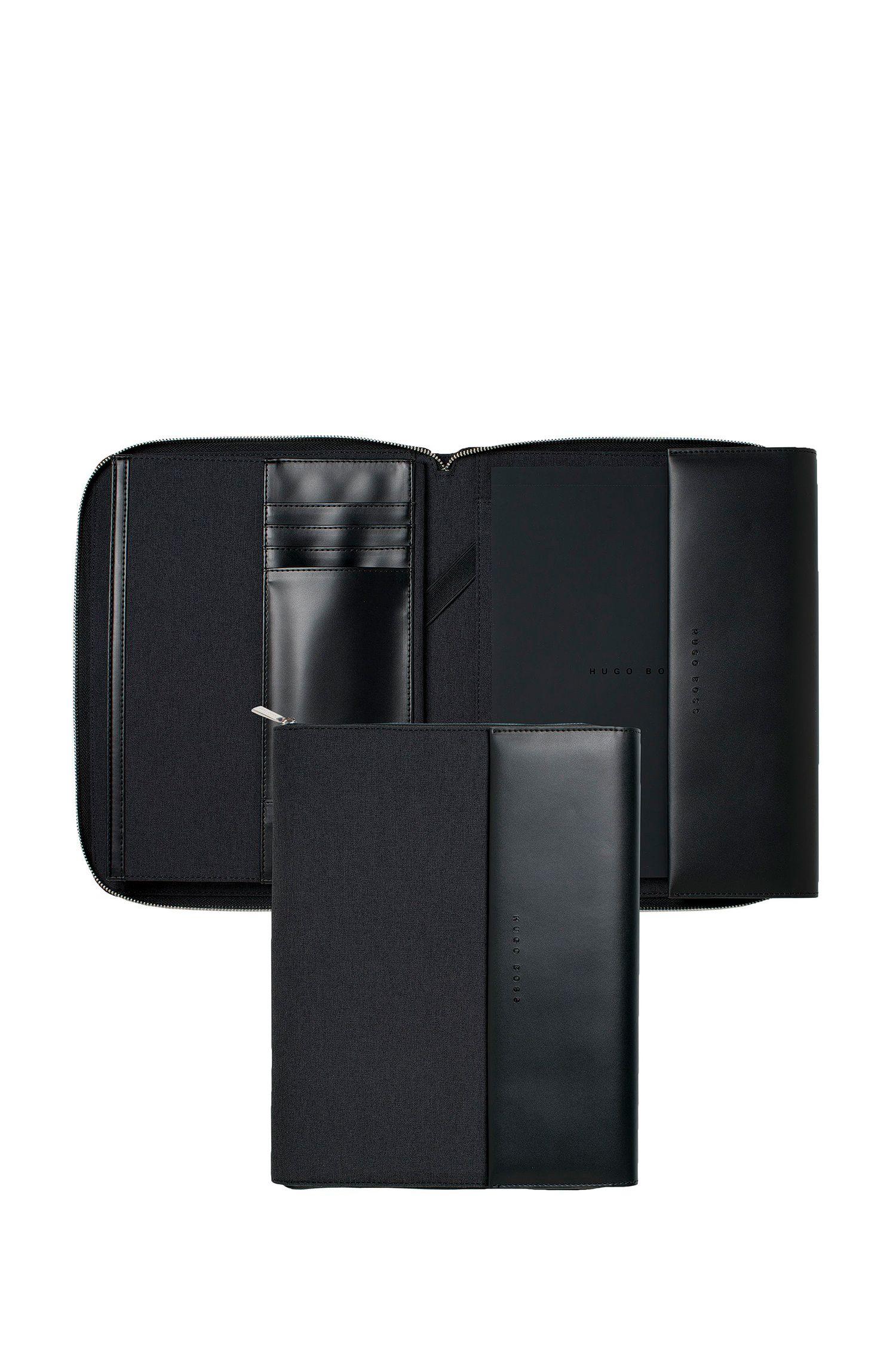 Étui à fermeture éclair circulaire au formatA5 en tissu technique avec finitions en similicuir, Noir
