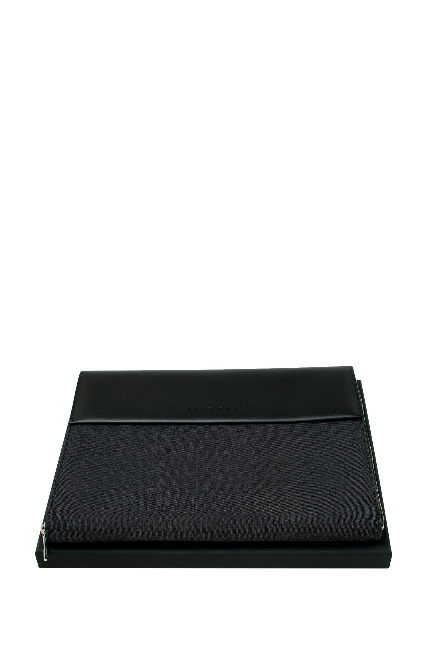 A5 ziparound folder in a technical fabric with faux-leather trims, Black