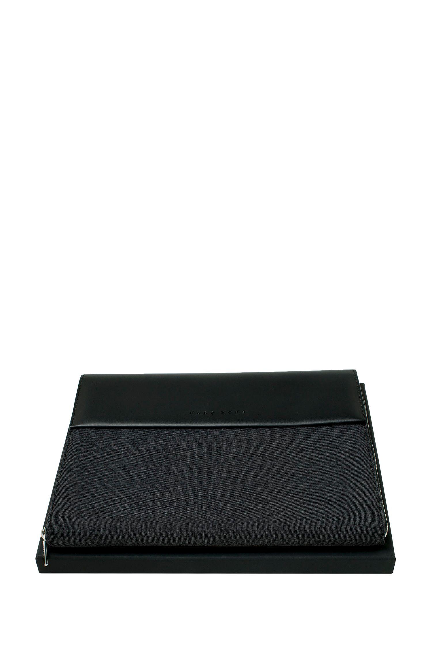 DIN-A5-Mappe aus Material-Mix mit Reißverschluss und Kunstleder-Details, Schwarz