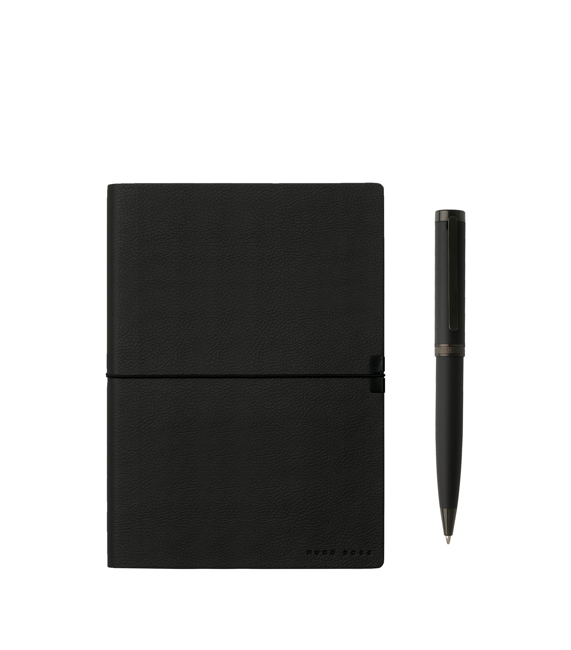 Gift set with black A5 notepad and ballpoint pen, Black