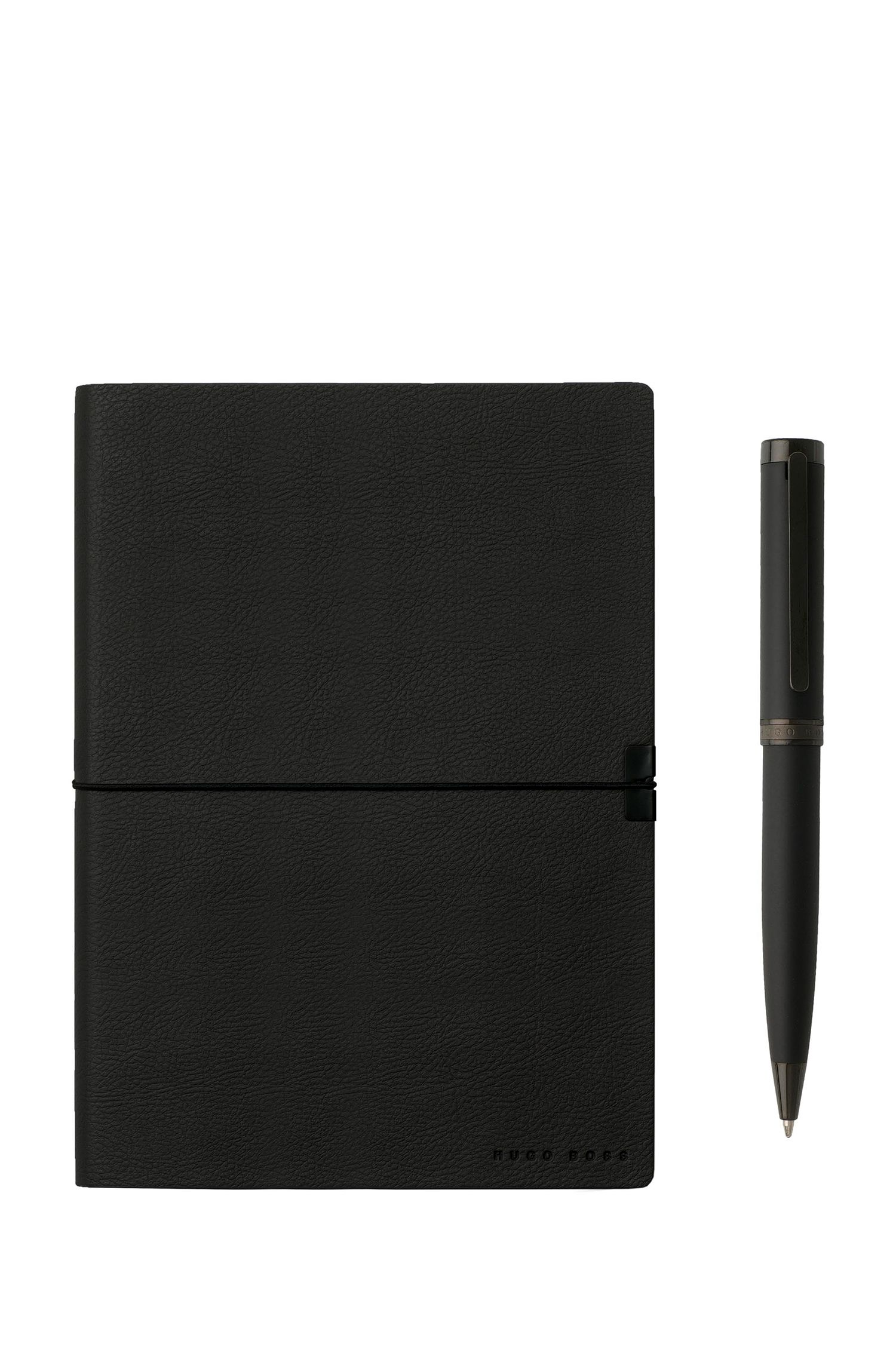 Gift set with black A5 notepad and ballpoint pen