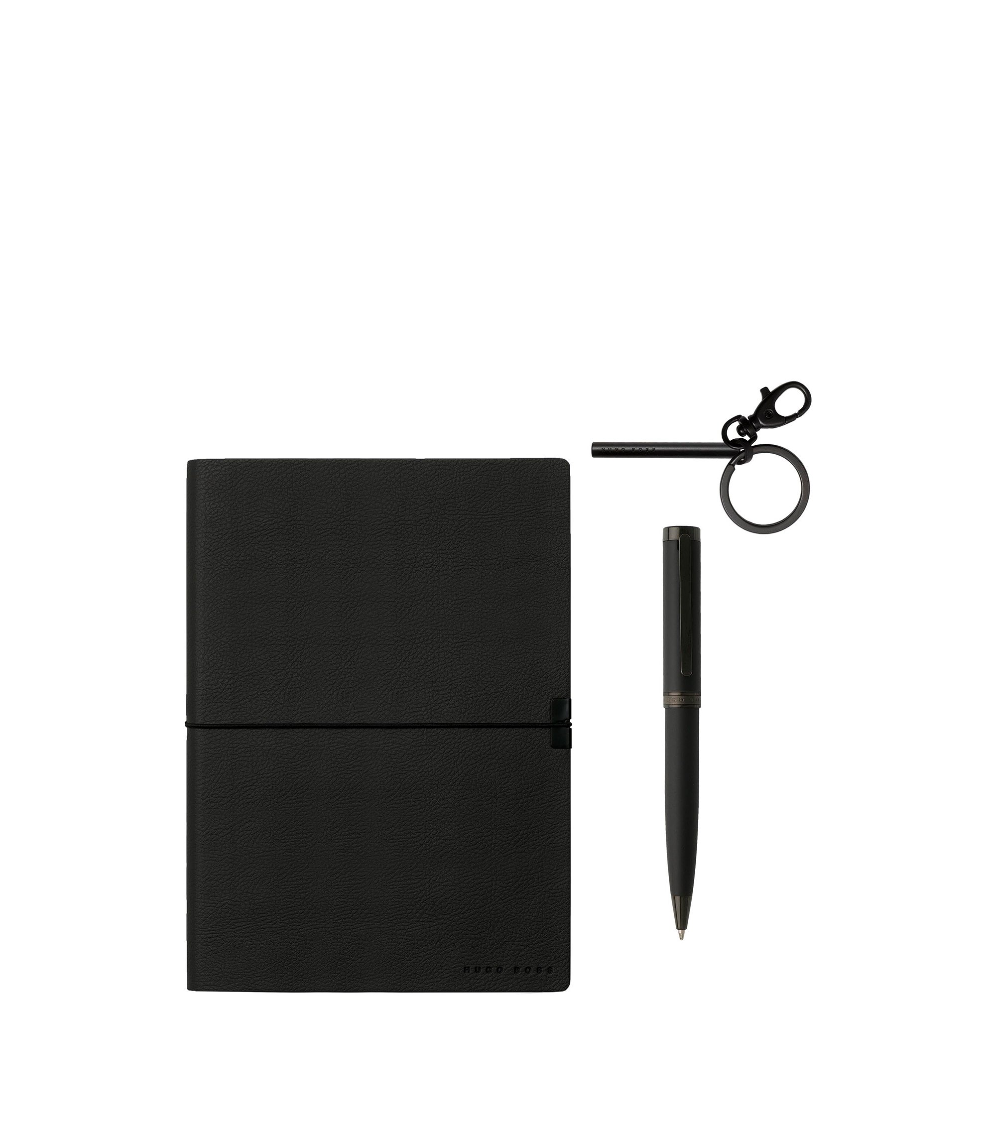 Three-piece set with black keyring, pen and notepad, Black