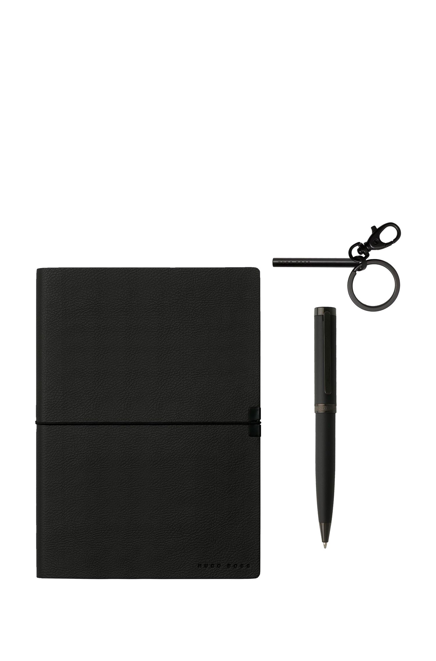 Three-piece set with black keyring, pen and notepad