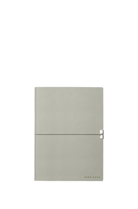 A5 notepad in grey faux leather, Grey