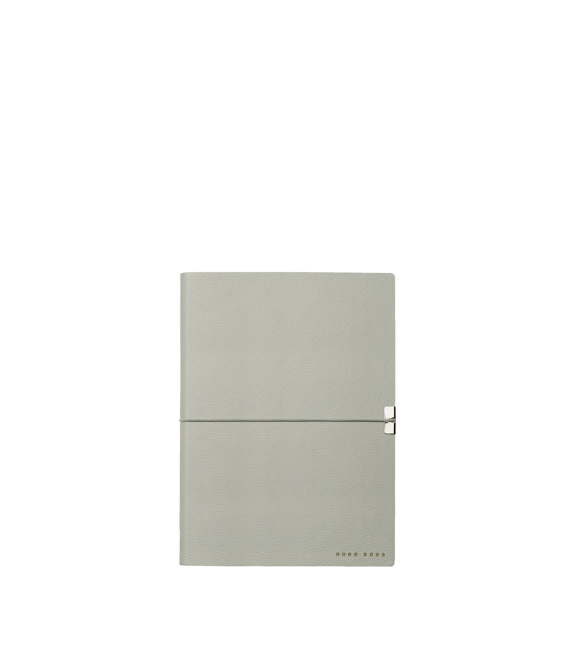 A5 notepad in grey faux leather, Light Grey