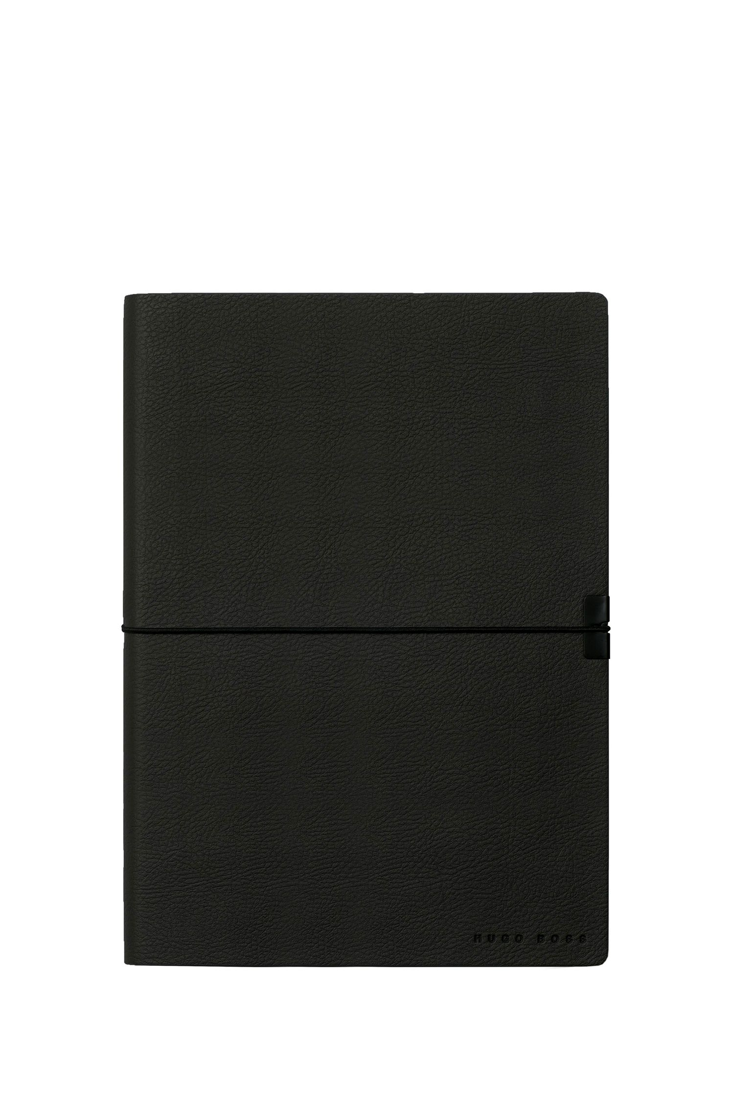 Black faux-leather A5 notepad, Black