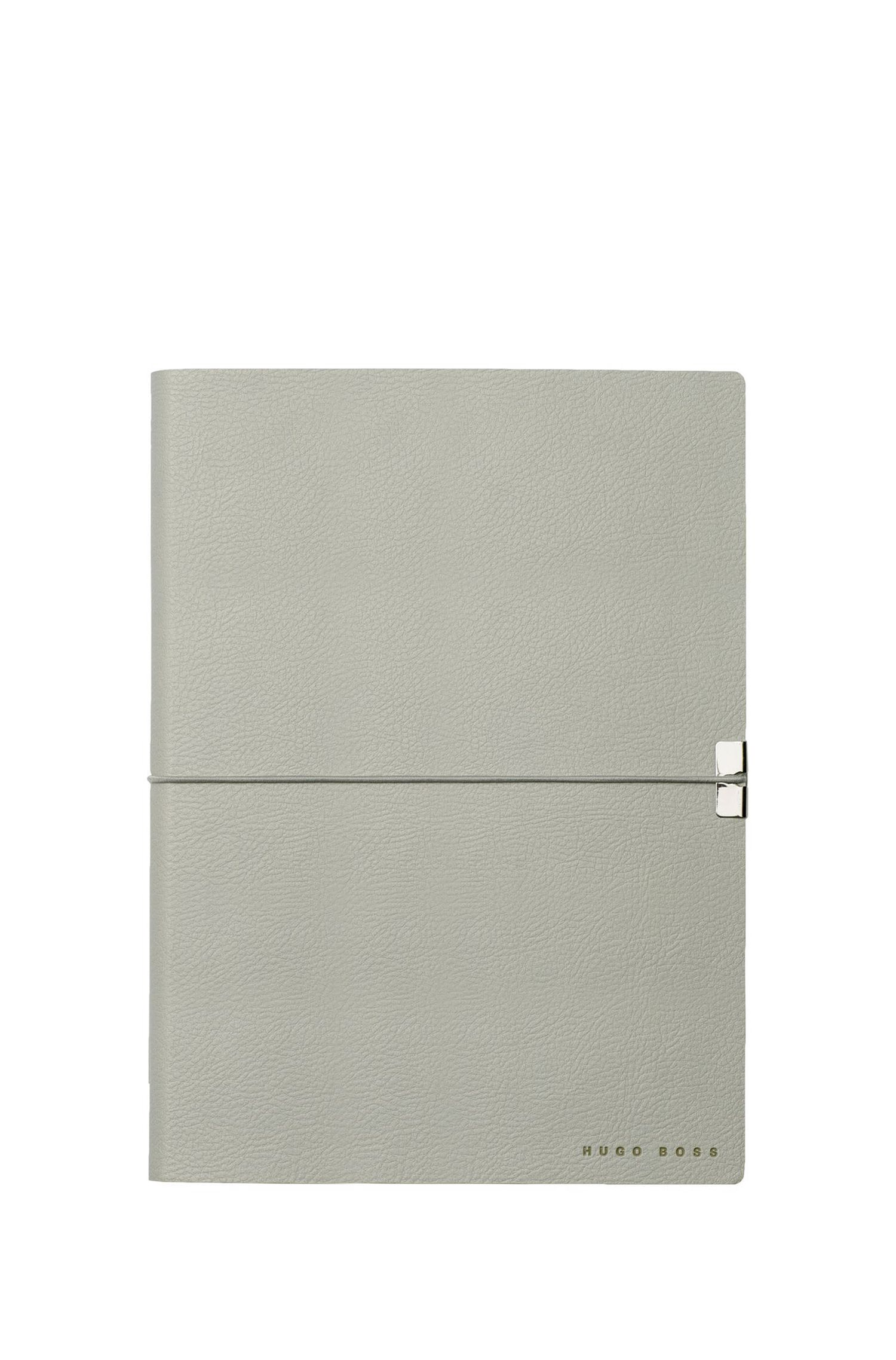 A5 notebook and ballpoint pen gift set in light-grey textured faux leather