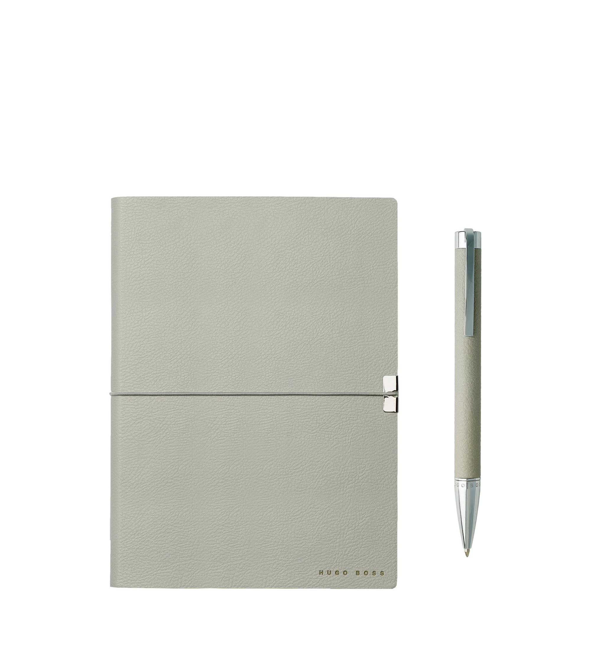 A5 notebook and ballpoint pen gift set in light-grey textured faux leather, Light Grey