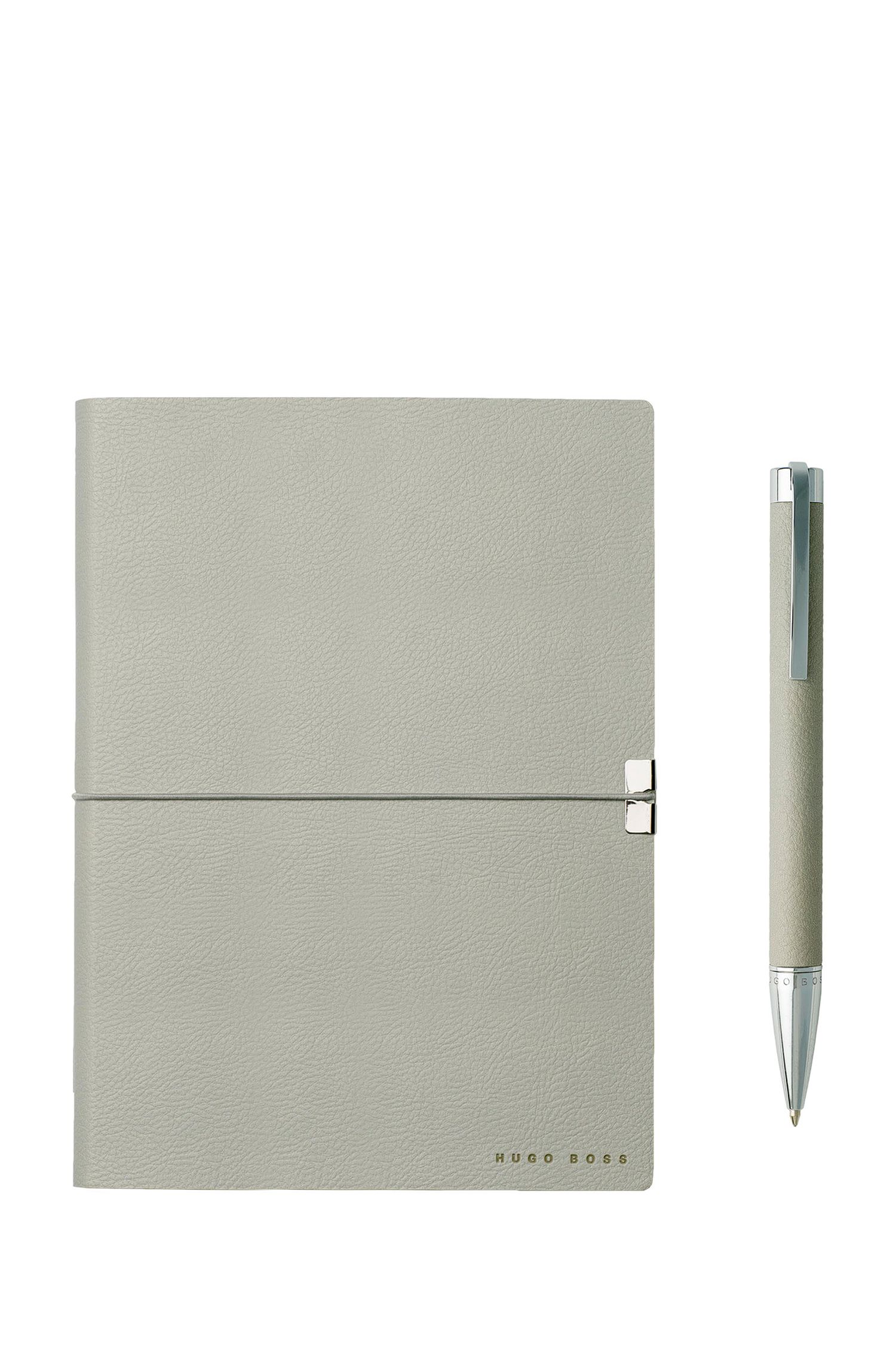 Set de regalo con cuaderno A5 y bolígrafo en piel sintética gris claro con textura