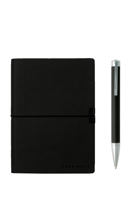 A6 notebook and ballpoint pen gift set in black faux leather, Black