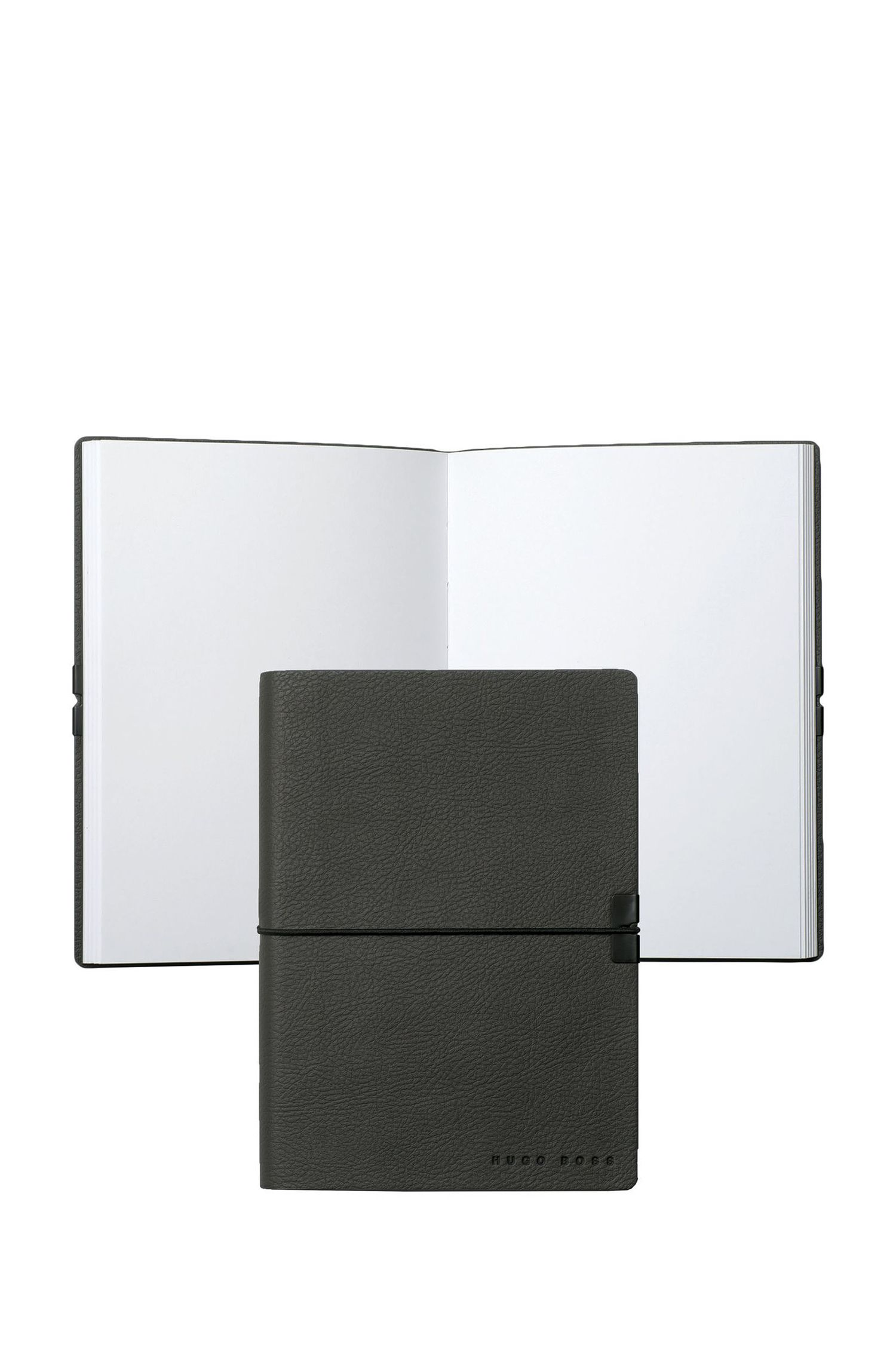 A6 notebook and ballpoint pen gift set in dark-grey faux leather