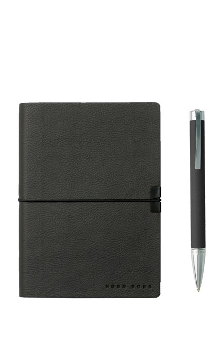 A6 notebook and ballpoint pen gift set in dark-grey faux leather, Dark Grey