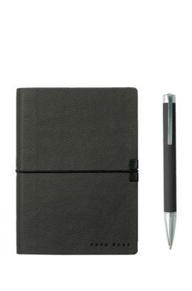 Coffret cadeau composé d'un carnetA6 et d'un stylo à bille en similicuir gris foncé, Gris sombre