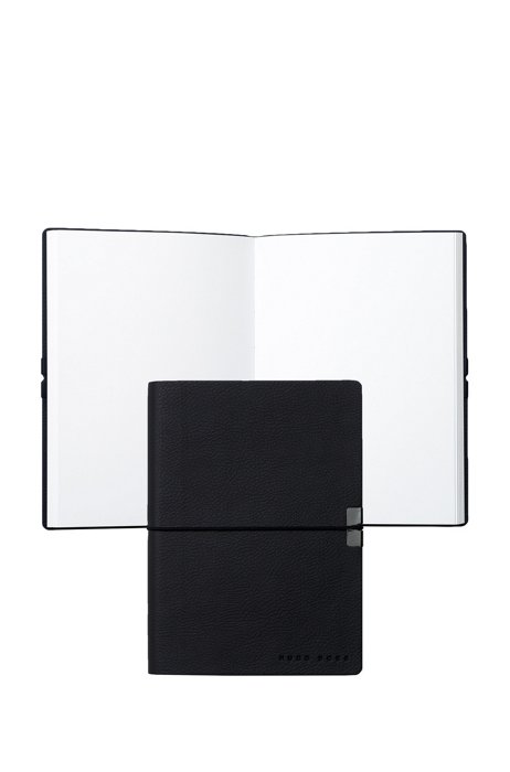 A6 notepad in blue faux leather with embossed logo, Dark Blue