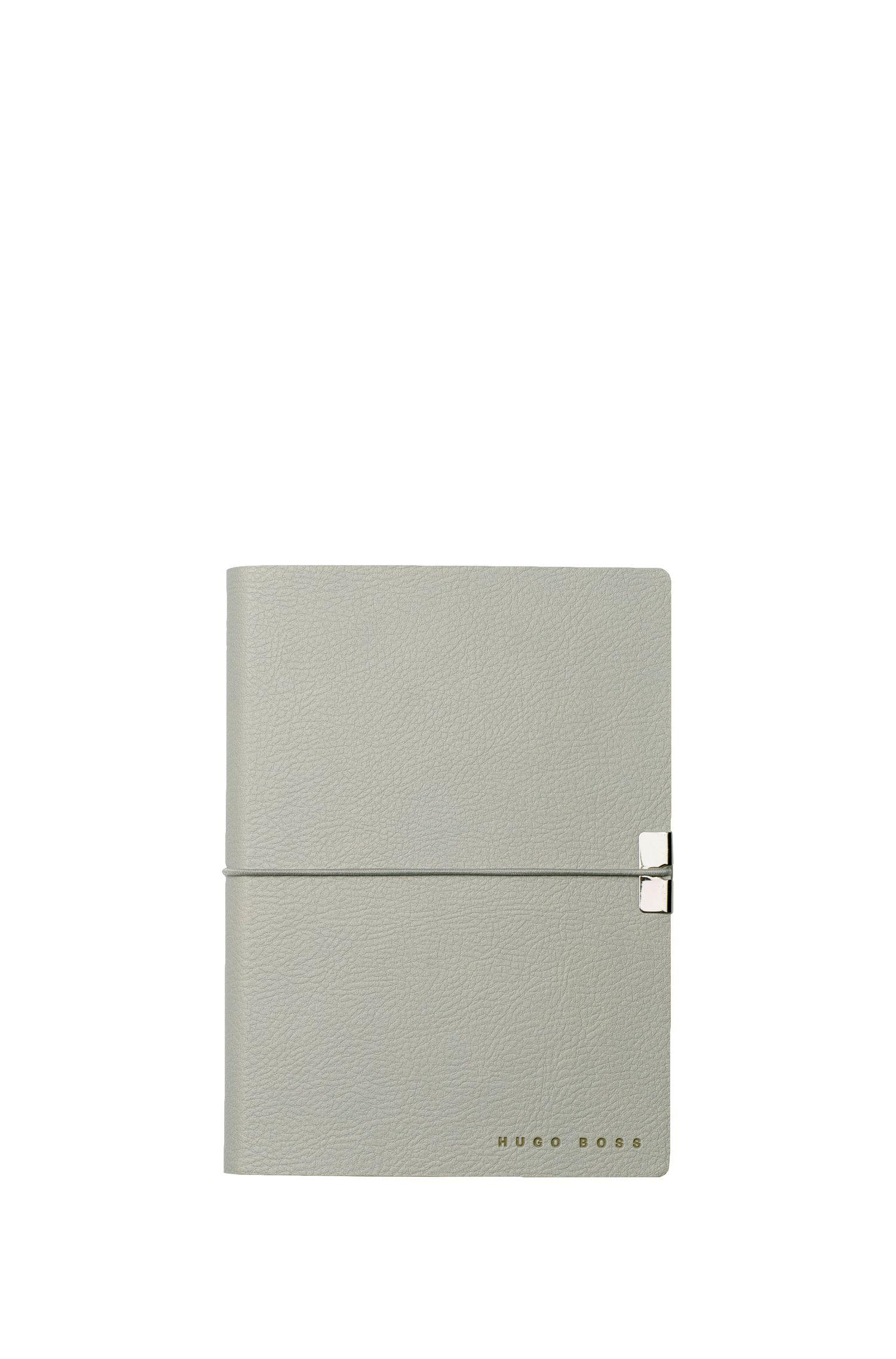 DIN-A6-Notizbuch aus Kunstleder, Hellgrau