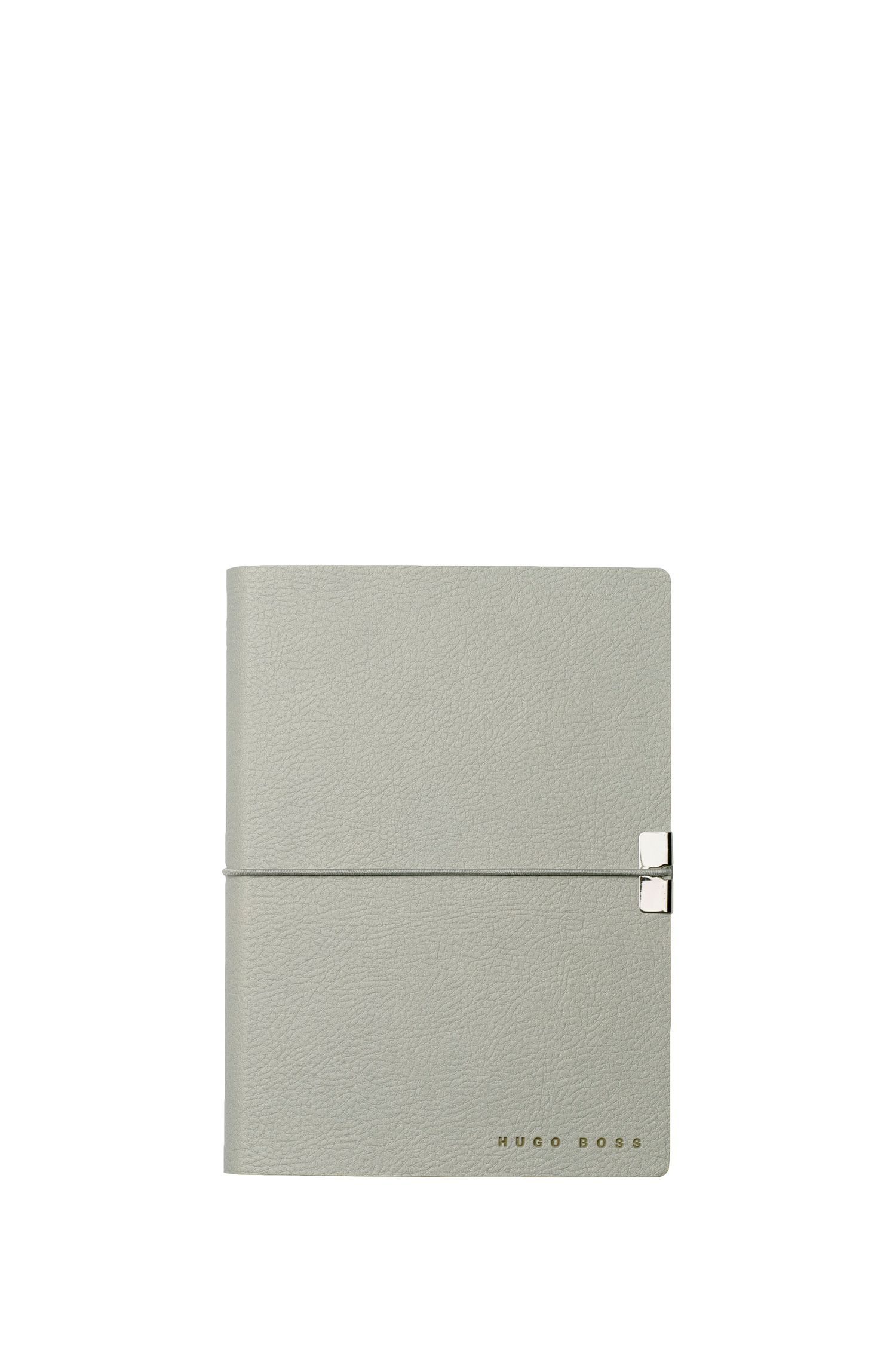 A6 light-grey faux leather notepad
